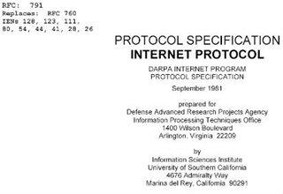 Спецификация протокола - Internet Protocol